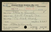 Entry card for Rausch, Stella J. for the 1919 May Show.