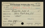 Entry card for Ruggles, E. A. (Edd Alvah) for the 1919 May Show.
