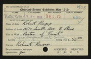 Entry card for Rupp, Robert for the 1919 May Show.