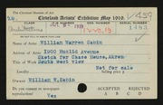 Entry card for Sabin, William Warren for the 1919 May Show.