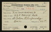 Entry card for Satterfield, Robert W. for the 1919 May Show.