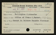 Entry card for Schaefer, Wellington J. for the 1919 May Show.
