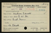 Entry card for Schrott, Barbara for the 1919 May Show.