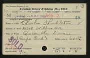 Entry card for Shackleton, Charles for the 1919 May Show.