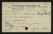 Entry card for Shaner, Mrs. S. R., and Cleveland Society for the Blind for the 1919 May Show.