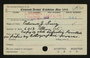 Entry card for Sinz, Edward J. for the 1919 May Show.
