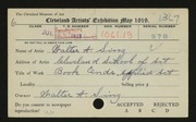 Entry card for Sinz, Walter A., and Cleveland School of Art for the 1919 May Show.