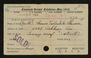 Entry card for Skinner, Mrs. O. E. for the 1919 May Show.
