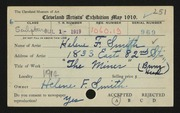 Entry card for Smith, Helene F. for the 1919 May Show.