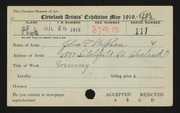 Entry card for Stephan, John F. for the 1919 May Show.