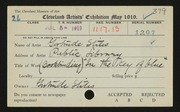 Entry card for Stiles, Gertrude for the 1919 May Show.