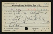 Entry card for Stilson, Ethel for the 1919 May Show.