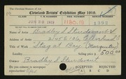 Entry card for Sturdevant, Bradley S. for the 1919 May Show.