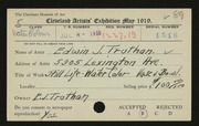 Entry card for Truthan, Edwin J. for the 1919 May Show.