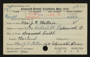 Entry card for Wallace, Mrs. J. C. for the 1919 May Show.