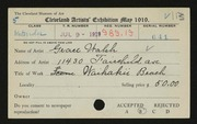 Entry card for Walsh, Grace for the 1919 May Show.