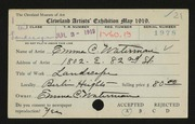 Entry card for Waterman, Emma C. for the 1919 May Show.