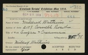 Entry card for Watkins, Mildred for the 1919 May Show.