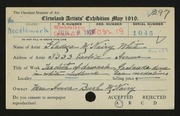 Entry card for White, Gladys McNairy for the 1919 May Show.