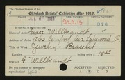 Entry card for Willbrandt, Grace for the 1919 May Show.