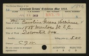 Entry card for Williams, Caroline Greene for the 1919 May Show.