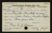 Entry card for Winsor, Martha Olmsted for the 1919 May Show.