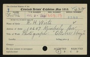 Entry card for Wirts, R. H. for the 1919 May Show.