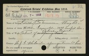 Entry card for Wright, Edith Stevenson for the 1919 May Show.