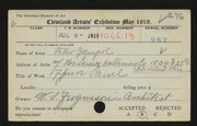 Entry card for Zampol, Peter for the 1919 May Show.