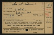 Entry card for Adomeit, George G. for the 1920 May Show.