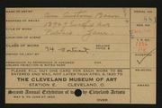 Entry card for Bacon, Ann Anthony for the 1920 May Show.