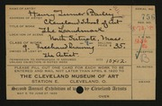 Entry card for Bailey, Henry Turner, and Cleveland School of Art for the 1920 May Show.