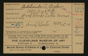 Entry card for Baker, Adelaide Clarissa for the 1920 May Show.
