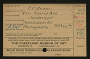Entry card for Baker, F. C. for the 1920 May Show.