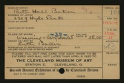 Entry card for Baker, Ruth Hall for the 1920 May Show.