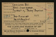 Entry card for Bell, Clara  for the 1920 May Show.