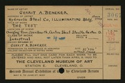 Entry card for Beneker, Gerrit A. for the 1920 May Show.
