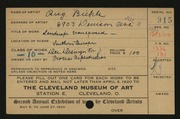 Entry card for Biehle, August F. for the 1920 May Show.