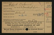 Entry card for Bohnert, Herbert for the 1920 May Show.
