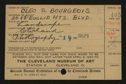 Entry card for Bourgeois, Cleo S. for the 1920 May Show.
