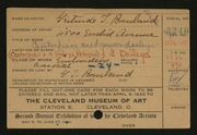 Entry card for Bourland, Gertrude T. for the 1920 May Show.