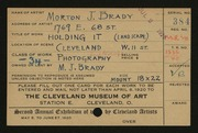 Entry card for Brady, Morton J. for the 1920 May Show.