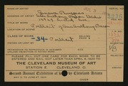 Entry card for Burgess, Geneva for the 1920 May Show.