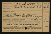 Entry card for Burton, John S. for the 1920 May Show.