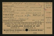 Entry card for Cannell, Joseph for the 1920 May Show.
