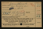 Entry card for Chircosta, Jerome  for the 1920 May Show.