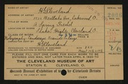 Entry card for Cleveland, H. G. for the 1920 May Show.