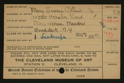 Entry card for Collins, Mary Susan for the 1920 May Show.