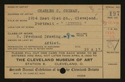 Entry card for Colman, Charles C. for the 1920 May Show.