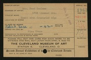 Entry card for Coolman, Anna N. for the 1920 May Show.